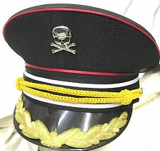 SDL Black Cotton With Red Trim With Gold Details Military Hat 57,58,59cm