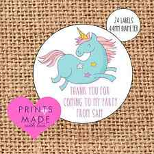 Party bag stickers personalised x24 blue unicorn thank you sweet cone labels
