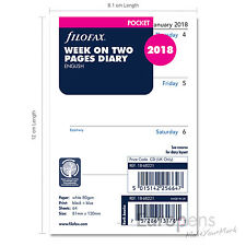 Filofax Pocket size 2018 Week On Two Pages (to view) Diary Refill Insert 1868221