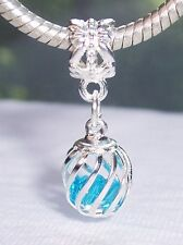 Caged Blue Crystal December Birthstone Dangle Bead for European Charm Bracelets