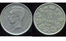BELGIQUE un belga 5 francs  1930  (des belges )   ( bis )