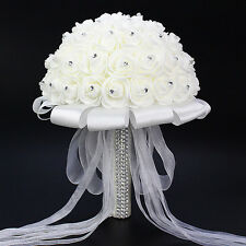 Handmade Bridal Artificial Foam Roses Flower Bouquet Wedding Bride Party Decor