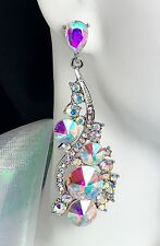 """2.75"""" Brilliant! AB Silver Crystal Earrings, Drag Queen, Prom, Pageant, Bridal"""