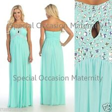 NEW Long Mint Chiffon Strapless Jewels Formal Maternity Dress MEDIUM Special Hot