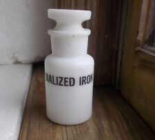 MILKGLASS DIALIZED IRON BOTTLE LEE S.SMITH & SON PITTSBURGH EMB SWASTIKA