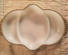 Vintage Anchor Hocking Fire King Divided Tray Dish White Milk GlassGold Trim