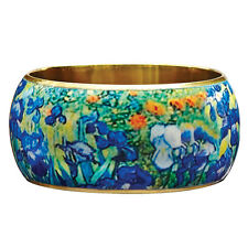 "Van Gogh Irises Bangle Bracelet - 1 1/2"" Wide Lacquered on Brass - Wearable Art"