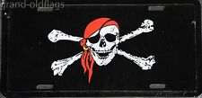 NEW JOLLY ROGER RED CAP PIRATE LICENSE PLATE TAG