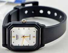 Casio LQ142E-7A Ladies White Gold Analog Watch Resin Gold Markers NEW