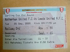 Ticket 2005 ROTHERHAM UNITED v LEEDS UNITED, 20 Sept (Carling CUP 2nd RD)
