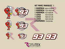 KIT 8X PEGATINAS MARC MARQUEZ 93 HORMIGAS ADHESIVOS STICKERS DECAL MOTO GP