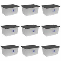 9 X 50 PLASTIC STORAGE BOXES CLEAR TRANSPARENT CONTAINER UK MADE BOX WITH LIDS