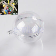 10pcs 5 Ball Christmas Baubles Clear Fillable Xmas Tree Decoration Ornaments  EW