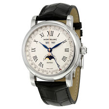 Montblanc Star Moon Phase Automatic Silver Dial Black Leather Mens Watch 113645