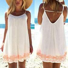 Womens Summer Beach Dresses Sleeveless Casual Long Tops Mini Sundress Blouse Tee