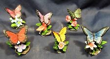 Butterfly on flowers resin figurine assortment home decor (set of 6)