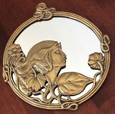 """Vintage Brass Art Nouveau Lady Flowers Round Hanging Wall Mirror 9.5"""""""