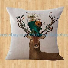 US SELLER- modern throw pillow covers deer bird house animal cushion cover