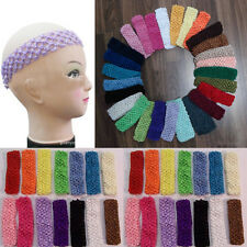"New 10x Lots 1.5 "" Pretty Useful Colorized Crochet Stretchy Baby Girls Headbands"