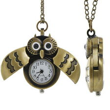 "Owl Watch Necklace Steampunk Pendant Antiqued Bronze 30"" Chain  IN GIFT BOX"