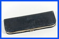 1940ies fantastic 2 fountain pen pouch - case, rare blue snake print leather
