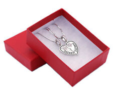 Sister Sister Engraved Best Friend Forever BFF Heart Flower Pendant Necklace