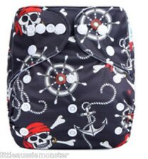 Modern Cloth Nappy (MCN) Brand New + Microfibre insert – Pirates & Anchors