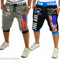 Herren Damen Shorts Capri Jogginghose Trainingshose Kurze Hose Sweat-Bermuda USA
