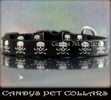 "** Handmade** Black & White Skull Cat Kitten Safety Collar With Bell 7"" - 9"""