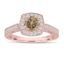 Fancy Champagne Brown Diamond Engagement Ring 14K Rose Gold Vintage Style
