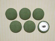 6 Green and Beige Checkered Fabric Covered Buttons - 30mm