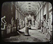 Glass Magic Lantern Slide THE VATICAN - STATUE GALLERY C1890 ROME ROMA