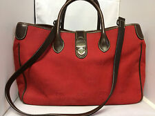 Beautiful Dooney & Bourke Tote Handbag Red and Brown Large