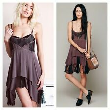 Free People Intimately Pieced Voile Lace Purple Mini Slip Dress XS Rare