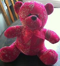 TOY WORKS TEDDY BEAR PINK WITH GOLD GLITTER FLOWERS PLUSH STUFFED ANIMAL