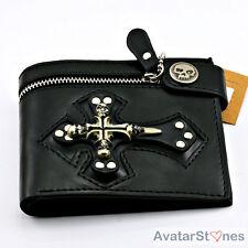 Men's Rocker Cowboy Skull & Cross Leather Wallet Skull Badge W16V2