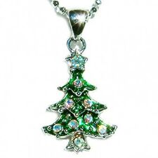 w Swarovski Crystal ~Green XMAS TREE~ Charm Pendant Chain Necklace Holiday GIFT