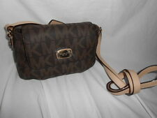 MICHAEL KORS JET SET ITEM SMALL FLAP CROSSBODY HANDBAG BROWN MK LOGO BAG PURSE