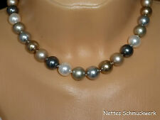 Perlenkette Swarovski-ELEMENTS Crystal Pearls 12mm bronze-platingrau geknotet