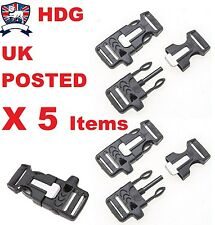 "5X 3/4"" 19mm  BUCKLE CLIP WHISTLE FLINT PARACORD BRACELET RUCKSACK WEBBING"