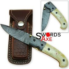 The Bone Collector Folding Damascus Knife with Leather Sheath Blacksmith Forged