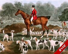 FOXHOUND DOGS & HORSE ENGLISH FOX HUNT HUNTING ART PAINTING REAL CANVAS PRINT