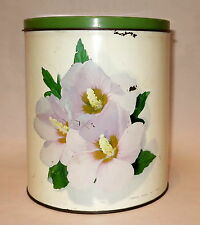 BEAUTIFUL HIBISCUS FLORAL WILLOW KITCHEN CANISTER TIN MADE IN AUSTRALIA