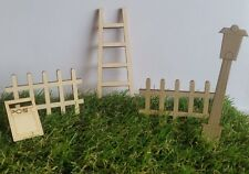 Fairy Door Wooden Accessories / Embellishments Lamp, Fence, Ladder Plywood 3mm
