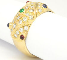 14k Yellow Gold 1.03tcw Ruby,Emerald, Sapphires W/ Diamonds Cluster Band Ring 8