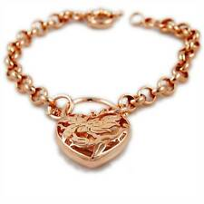 Rose Gold Filled Belcher Chain Bracelet Filigree Flower Padlock Heart Charm 26cm