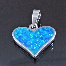 Anhänger 925 Sterling Silber Herz Opal Blau schimmernd 21x16mm Kettenanhänger