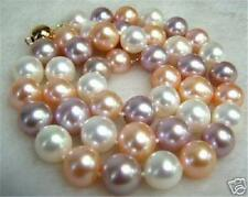 "8mm South Sea White Pink Purple Multi-Color SHELL PEARL NECKLACE 18"" AAA"