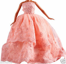 Handwork soft Princess Party Dress/Evening Clothes/Gown For Barbie Doll  1105