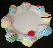 White Hand Painted Ceramic Figural Colorful Cupcake Platter by Mud Pie